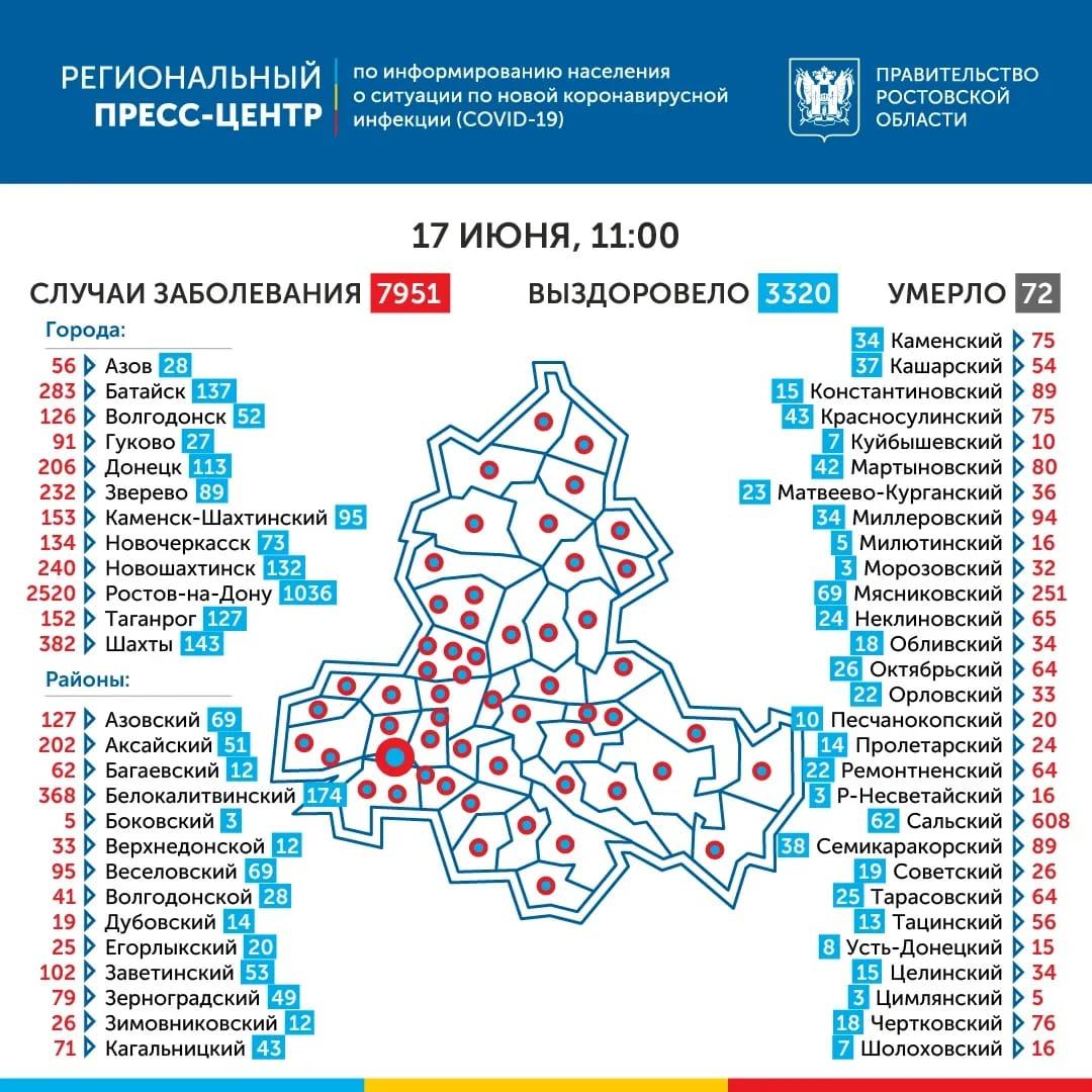География распространения COVID-19 по Ростовской области 17 июня 2020 года