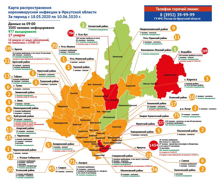 География распространения COVID-19 по области 10 июня 2020