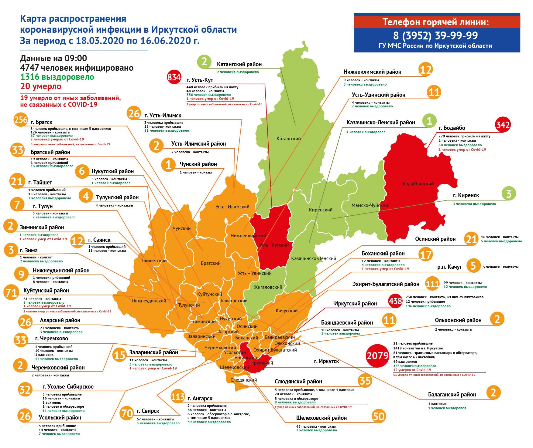 География распространения COVID-19 по области 16 июня 2020 года